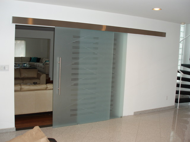 Parallel Glass sliding door on the wall, model SAGITTA. - Modern - Interior Doors - new york ...