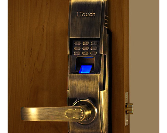 1TouchIQ2 Antique Brass Biometric Lock - A sleek and modern fingerprint lock with a slide cover that exposes the scanner for access. The 1TouchIQ2 can also have users that have access with a key or pass code.