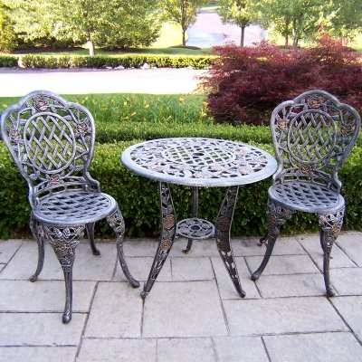 Oakland Living Tea Rose Cast Aluminum Bistro Set traditional-indoor-pub-and-bistro-sets