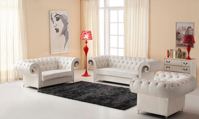 Genuine Italian Leather Sofa Set With Rhinestones Traditional Living Room Furniture Sets