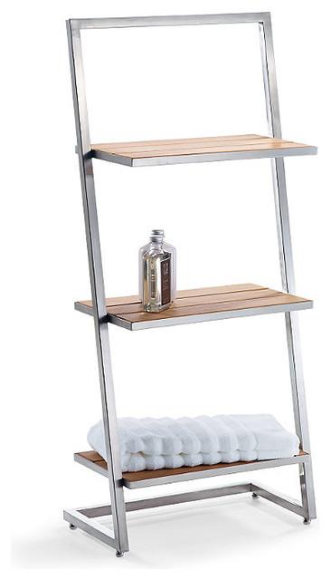 marais teak stainless 3 tier shelf traditional. Black Bedroom Furniture Sets. Home Design Ideas
