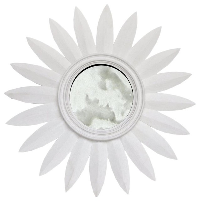 Worlds Away Sunny Mirror in White contemporary-mirrors