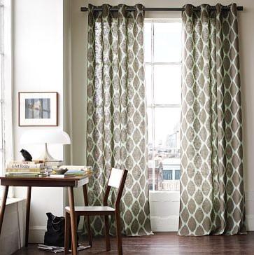 Ikat Ogee Linen Window Panel   west elm mediterranean-curtains