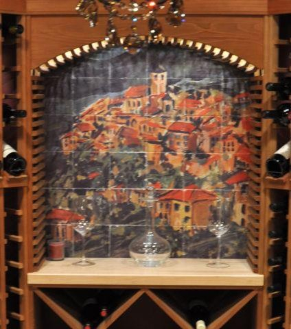 Arched Mural for Wine Cellar mediterranean-wine-cellar