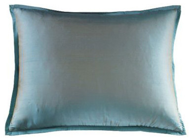 Mystic Valley Traders Profiles Silk Turquoise - Standard Sham modern-pillowcases-and-shams