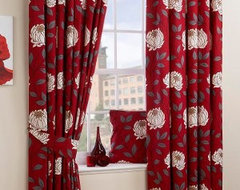 Ruby Red Lined Curtains modern curtains
