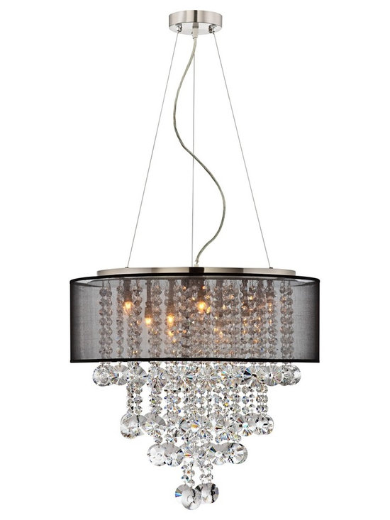 "Possini Euro Design - Brushed Nickel Black Shade 22"" Wide Crystal Chandelier - A transitional style chandelier from the Bretton Collection featuring a brushed nickel housing and canopy with hanging strands of beautiful clear glass crystal. A black sheer drum shade surrounds the crystals and light and creates a magnificently sophisticated look. Includes hanging wire to adjust hang height. Brushed nickel frame. Black sheer shade. Glass crystal accents. Includes twelve 25 watt G9 halogen bulbs. Fixture size is 22"" wide and 20"" high. Shade size is 22"" wide and 7"" high. Canopy is 5"" wide. Includes 12 feet adjustable cable and wire. Hang weight is 15 pounds.  Brushed nickel frame.   Black sheer shade.   Glass crystal accents.   Includes twelve 25 watt G9 halogen bulbs.   Fixture size is 22"" wide and 20"" high.  Shade size is 22"" wide and 7"" high  Canopy is 5"" wide.   Includes 12 feet adjustable cable and wire.  Hang weight is 15 pounds."