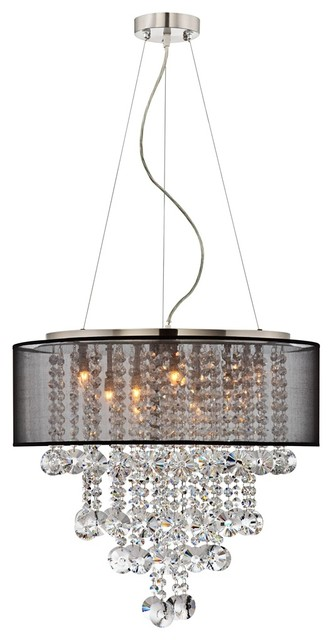 """Brushed Nickel Black Shade 22"""" Wide Crystal Chandelier contemporary-chandeliers"""
