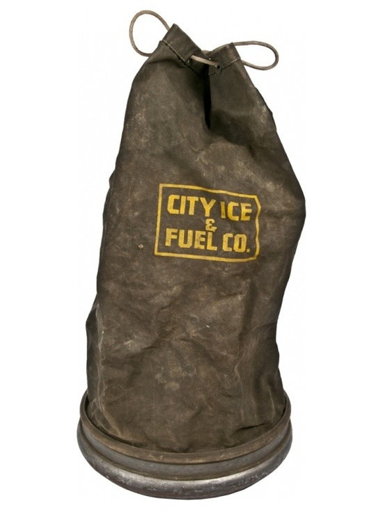 Collapsible Ice Bag - Vintage collapsible waterproof canvas bag for City Ice. Made by Pittsburgh Waterproof Company.