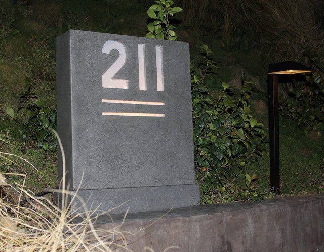 Concrete Home Address Sign Modern Los Angeles By