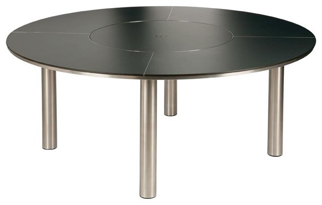 Barlow Tyrie- Equinox Circular Dining Table & Lazy Susan, Large modern-outdoor-tables