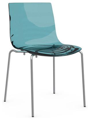 L'EAU Chair, Chrome Frame, Transparent Aquamarine, Set of 2 contemporary-dining-chairs