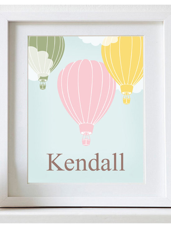 Nursery Art, Childrens Art - Personalized Hot Air Balloon print. Perfect in a nursery or childrens bedroom. Pick colors to match your decor.