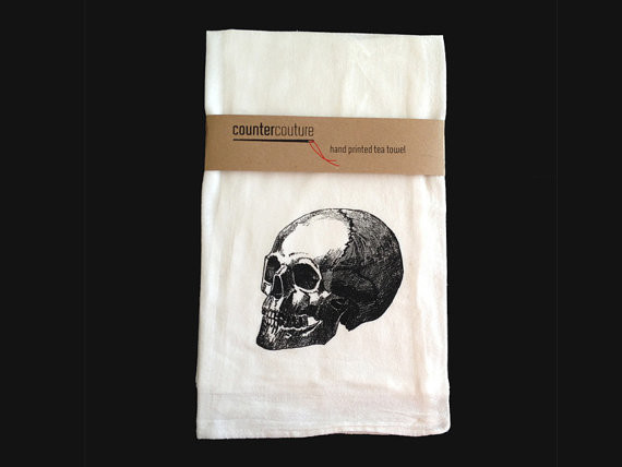 Skull Flour Sack Tea Towel by Counter Couture Design