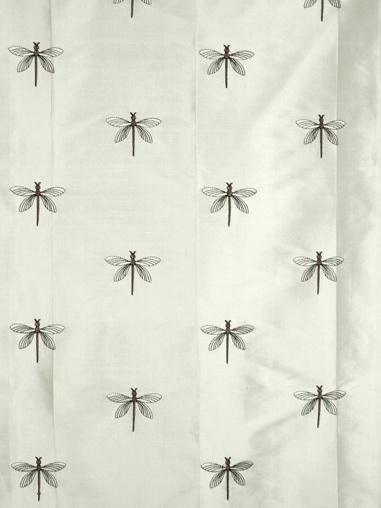 Beige Custom Made Embroidered Dupioni Silk Curtains - A tranquil and soothing scene is set with the country-inspired embroidered dragonflies on this window curtain.