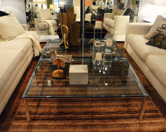Showroom Pieces - Glass/Stainless steel Rectangular coffee tables