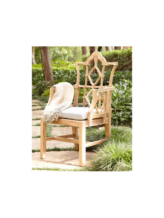 Horchow - Outdoor Dining Furniture - With a design inspired by an Italian antique, this stately armchair offers posh seating for outdoor gatherings or alone time. Hand-carved, solid teak frame. Handwoven, Viro-caning (polyethylene) seat. Seat cushion covered in acrylic. Outdoor safe. ...