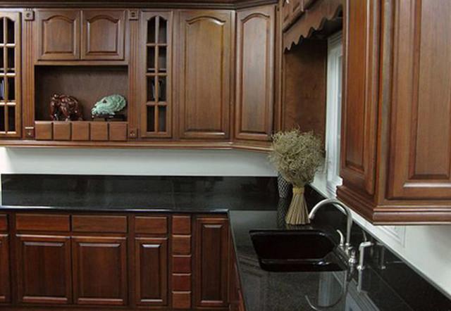 Cherry Walnut Kitchen Cabinets Home Design - Traditional - Kitchen ...