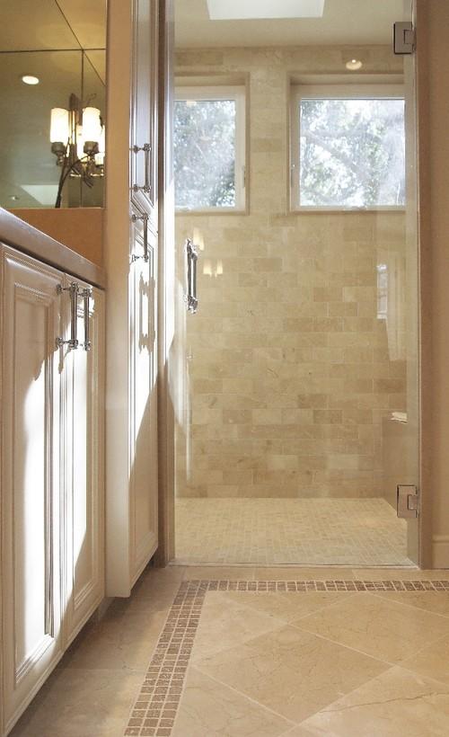 Question on the floor of the bathroom is the floor for Crema marfil bathroom ideas