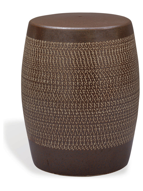 Mesa Garden Stool - Hand chipped carving makes the Mesa garden stool modern. Used in the garden as a stool or inside beside a upholstered chair, the porcelain stool is a timeless, classic.