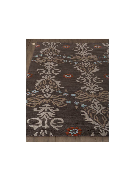 "Horchow - ""Louetta"" Rug - An oversized vine motif punctuated with flowers gives this handmade rug artistic appeal. Hand tufted of New Zealand wool and viscose. Cotton backing. Sizes are approximate. Imported. See our Rug Guide for tips on how to measure for a rug, choos..."