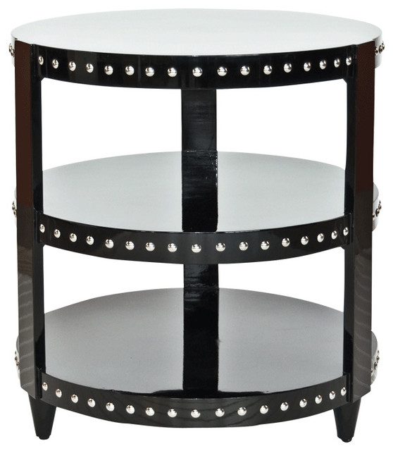 Worlds away 3 tier black lacquer nickel studded side table for Coffee table with studs