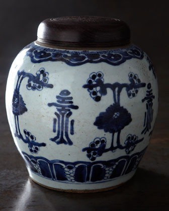 Large Blue-&-White Lidded Jar traditional food containers and storage