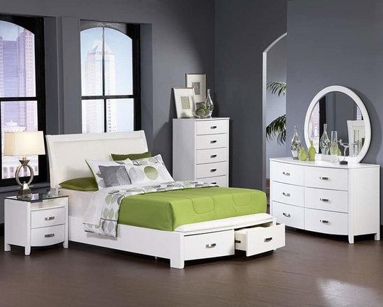 Bedrooms Furniture - Lyric White Master Bedroom Set