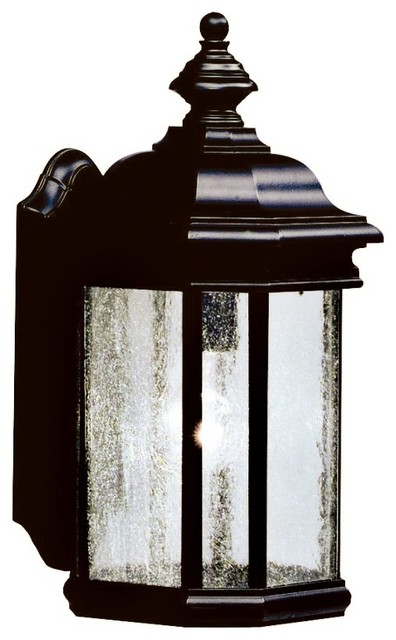 Cottage Outside Wall Lights : Country - Cottage Kirkwood Black Finish 17