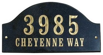 Solid Granite Address Plaque, Ridgecrest Arch, White Granite Natural modern-house-numbers