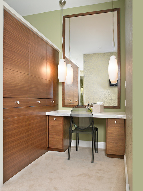 a narrow part of the house such as a powder room or the hallway needs a large mirror to compensate for the limited space in this design a big wall mirror