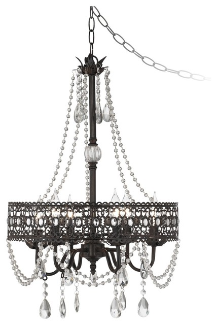 Traditional Drake Collection Beaded 6-Light Dark Rust Chandelier traditional-chandeliers