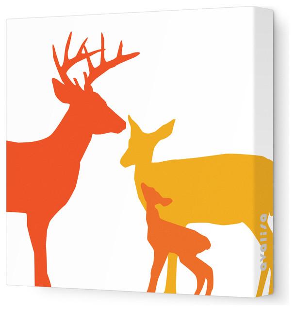 "Animal - Deer Stretched Wall Art, 28"" x 28"", Orange Hue contemporary-kids-decor"