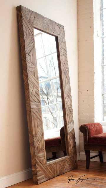 Tehama Standing Mirror with Wood Frame in Antiqued Walnut modern-floor-mirrors