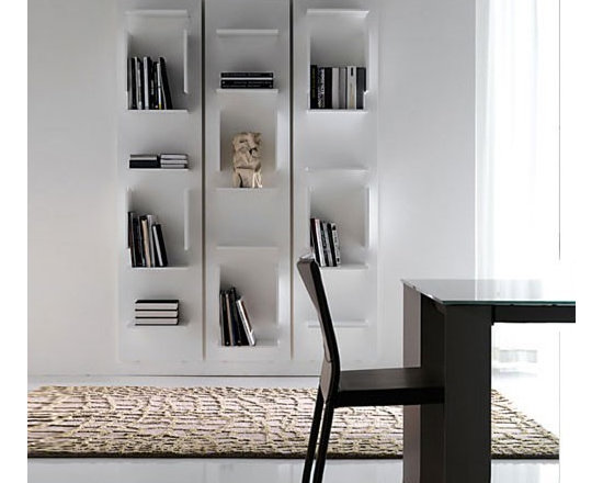 Cattelan Italia - Cattelan Italia | Fifty Bookcase - Made in Italy by Cattelan Italia.Original and urban, the Fifty Bookcase is an artful interplay of horizontal and vertical lines. Wall mounted, it engages aesthetic sensibilities with its architectural simplicity. Crafted from wood, it is an emblem of fine Italian design and workmanship. Comes standard with horizontal and vertical dividers to store and display your books and accent objects.  Look no further for an eye catching sophisticated design that displays books and accessories in any modern home.The Fifty Bookcase ships as one panel. For additional panels, simply increase the order quantity as desired.