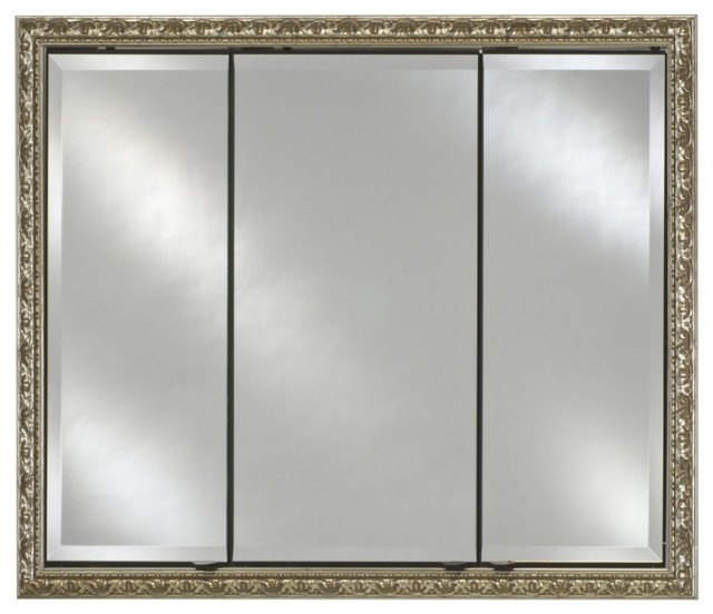 Afina Signature Collection Triple Door 34W x 30H in. Recessed Medicine Cabinet - Modern ...