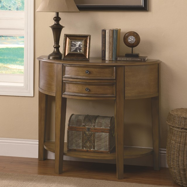 Demilune entry table with 2 drawers shelf transitional for Demilune console table with drawers