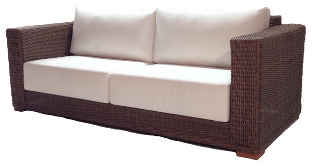 Outdoor Wicker Sofa Sunbrella Natural Cushions Patio Style Contemporary