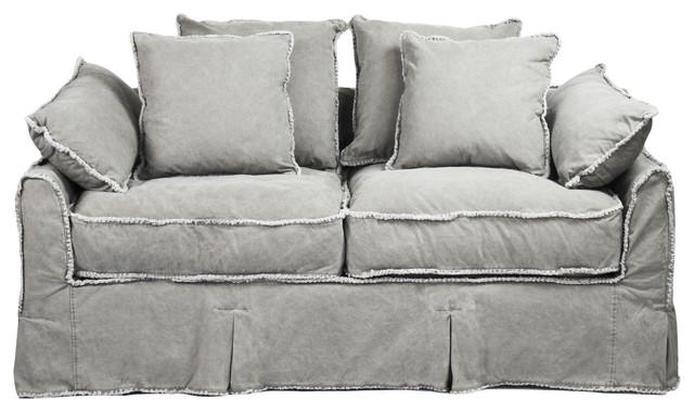 Kelvin Stonewash Canvas Fog Cottage Style 2.5 Seat Loveseat - Transitional - Sofas - by Kathy ...