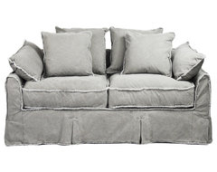 Kelvin Stonewash Canvas Fog Cottage Style 2.5 Seat Loveseat transitional-sofas