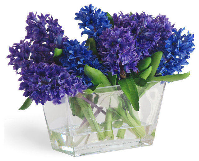Blue And Purple Hyacynth Arrangement In Vase Traditional