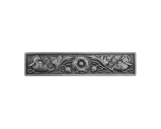 """Inviting Home - Poppy Pull (antique pewter) - Hand-cast Poppy Pull in antique pewter finish; 5""""W x 1-1/2""""H; Product Specification: Made in the USA. Fine-art foundry hand-pours and hand finished hardware knobs and pulls using Old World methods. Lifetime guaranteed against flaws in craftsmanship. Exceptional clarity of details and depth of relief. All knobs and pulls are hand cast from solid fine pewter or solid bronze. The term antique refers to special methods of treating metal so there is contrast between relief and recessed areas. Knobs and Pulls are lacquered to protect the finish. Detailed Description: Poppy knobs are part of English Garden Hardware Collection. Reflecting the meticulous effort that produced these stunning gardens from a bygone era each of the knobs and pulls in this line features individually hand-cast and hand-finished design work. There are soft graceful roses and poppies reminiscent of classic beauty and elegance. While others like Dianthus Knobs and Mountain Ash knobs feature crisply detailed styling with colorful background. Each knob's design marries Mother Nature and Craftsmanship into decorative hardware that adds beauty to any room of your home."""