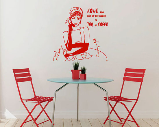 Vinyl Decals Girl Lady Problem is Tea Coffee Quote Home Wall Decor Removable Sti -