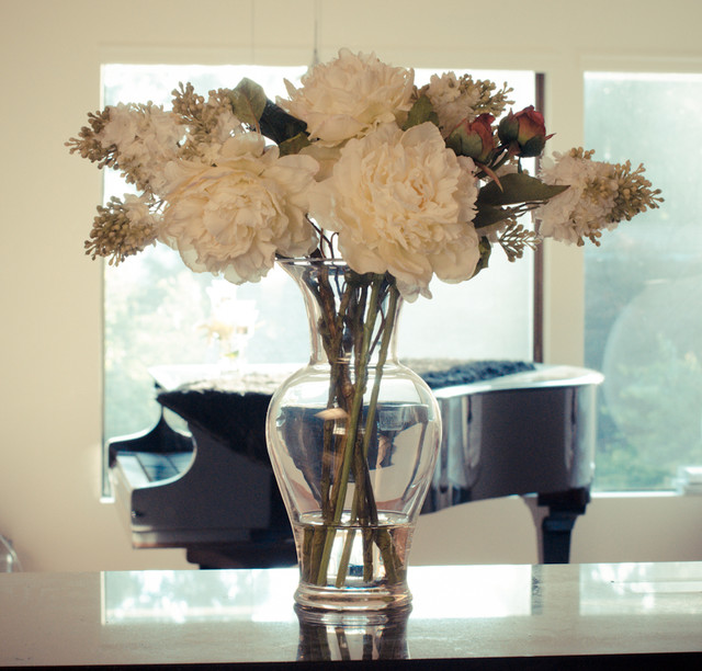 White Peony Faux Arrangement Centerpiece For Living Room Traditional Seattle By Flovery By