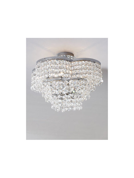 Horchow - Keating Semi Flush Mount - Subtle elegance shimmers in this hand-cut crystal ceiling fixture. Sure to add just the right amount of glamour to any setting. Handcrafted of crystal. Chrome-finished frame. Uses four 40-watt bulbs. Ceiling canopy included. Direct wire; professio...