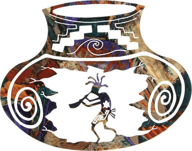 Southwest Metal Wall Art Kokopelli Pottery Jar 18