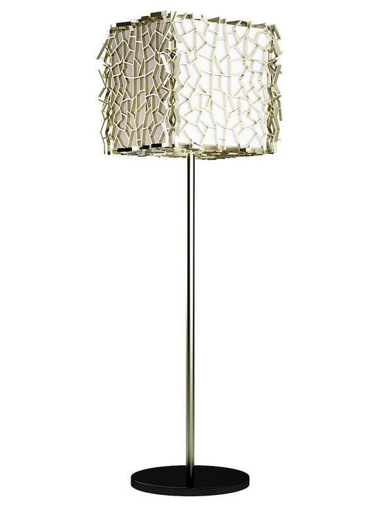 CreativeMary - Nest Floor Lamp - Nest Floor Lamp was designed to brighten an area with an emphasis on unique mood lighting. Features a White fabric shade with a Brass finish. Each piece is completely handmade and attached individually, creating a unique pattern each time a new piece is produced. One 40 watt, 120 volt A19 type medium base incandescent bulb is required, but not included. 15.7 inch width x 67 inch height x 15.7 inch depth.