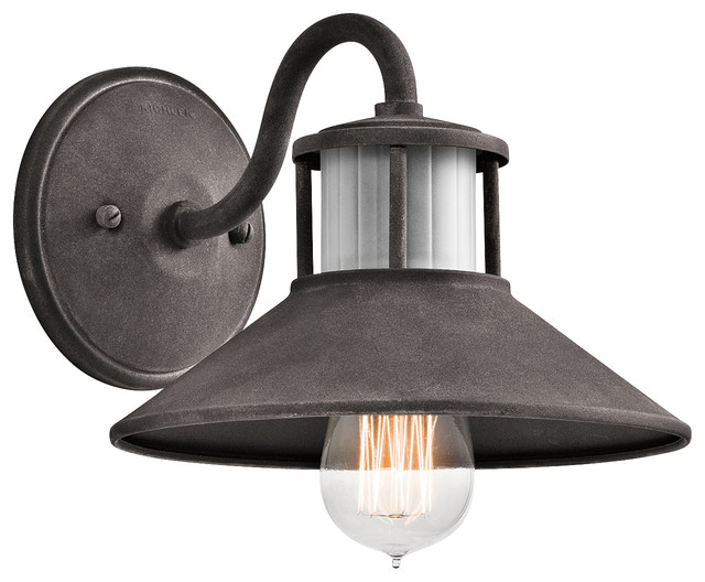 Small Industrial Wall Lights : Kichler Lighting 49267WZC Laken Weathered Zinc Outdoor Wall Sconce, Small - Industrial - Outdoor ...