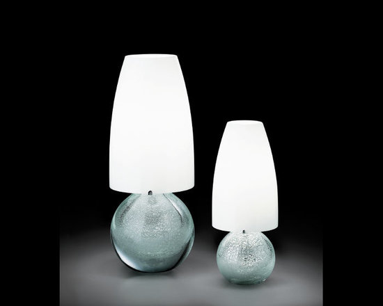 Venini - Argea Table Lamp - Argea Table Lamp features a White glass shade with a Crystal/Silver Leaves glass base finish. Available in small and large sizes. One 100 watt, 120 volt A19 type medium base incandescent bulb is required, but not included. Small: 6.11 inch width x 14.57 inch height.  Large: 8.27 inch width x 21.6 inch height.