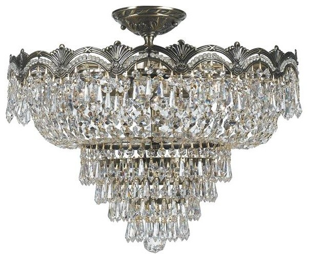 Crystorama 1485-HB-CL-MWP Sold Cast Brass Ornate Crystal Semi-Flush Mount flush-mount-ceiling-lighting